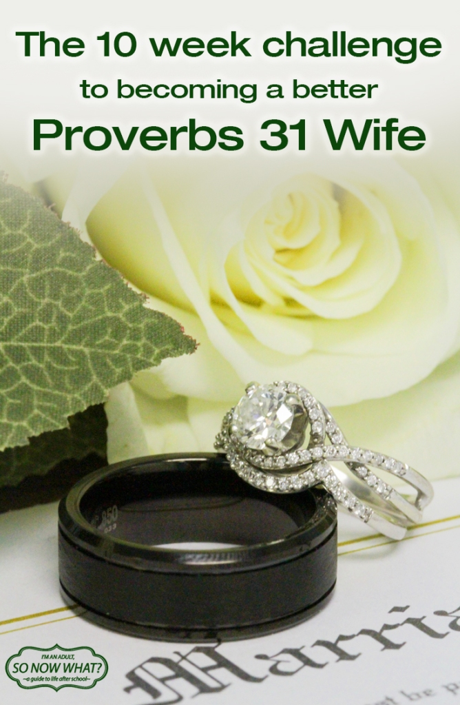 A 10 week challenge to become a better wife! Focuses on the 10 traits of Proverbs 31: Faith, Marriage, Mothering...